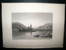 Germany 1838 Antique Print. Bingen