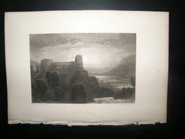 Germany 1838 Antique Print. Heidelberg Castle