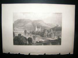 Germany 1838 Steel Engraving. Bingen