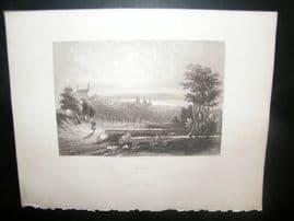 Germany 1847 Antique Print. Fulda