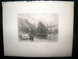 Germany 1847 Antique Print. The Danube Whirlpool