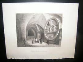 Germany 1847 Antique Print. The Great Wine Barrel in Heidelberg