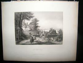 Germany 1847 Antique Print. The Rhine Ferry
