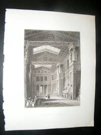 Germany 1847 Antique Print. The Walhalla on the Danube
