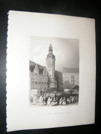 Germany 1847 Antique Print. Town Hall & Market, Leipzig