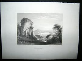 Germany 1847 Steel Engraving, Donaustauf, Rhine, Antique Print