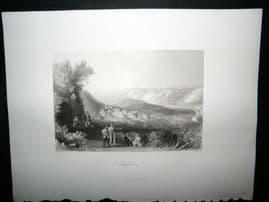 Germany 1847 Steel Engraving, Schulpforte, Antique Print