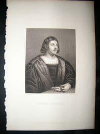 Giovanni Boccaccio C1860 Steel Engraved Portrait Print