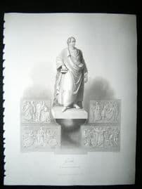 Goethe, Sculpture 1847 Steel Engraving, Antique Print