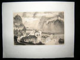 Gorse Les Pyrenees C1850 Antique Print. Vue des Eaux Bonnes, France