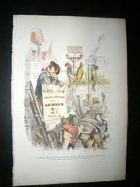 Grandville des Animaux 1842 Hand Col Print. Animals in public hanging, Title Page