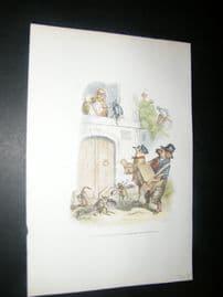 Grandville des Animaux 1842 Hand Col Print. Blind Organist