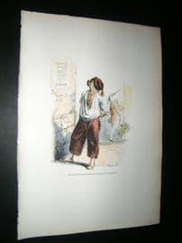 Grandville des Animaux 1842 Hand Col Print. Dog Reading Political Poster
