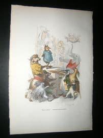 Grandville des Animaux 1842 Hand Col Print. Elephant, Cow, Porcupine