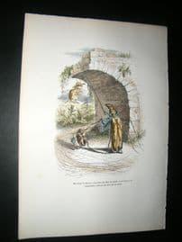 Grandville des Animaux 1842 Hand Col Print. Grasshopper Sorcerer & Apprentice