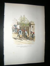 Grandville des Animaux 1842 Hand Col Print. Insects Marching