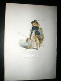 Grandville des Animaux 1842 Hand Col Print. Monkey Artist