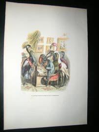 Grandville des Animaux 1842 Hand Col Print. Monkey Drawing Portrait Of Crane Bird