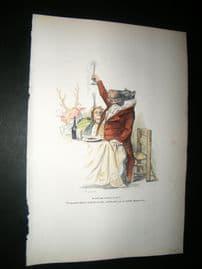 Grandville des Animaux 1842 Hand Col Print. Toasting Hippo