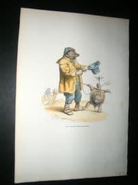 Grandville des Animaux 1842 Hand Col Print. Turtle Gymnast