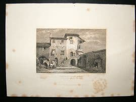 Greece: 1834 Steel Engraving, Franciscan Convent, Athens Print