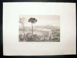 Greece: 1834 Steel Engraving, Negropont Print