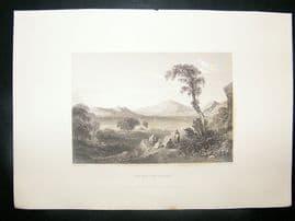 Greece: 1834 Steel Engraving, Salamis Gulf, Print