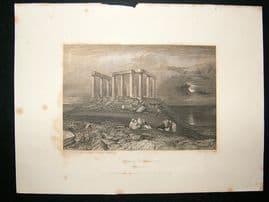 Greece: 1834 Steel Engraving, Temple of Minerva Print