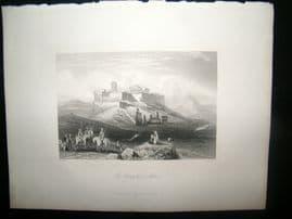 Greece 1847 Antique Print. The Acropolis at Athens