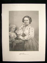 Harriet G Hosmer 1873 Antique Portrait Print