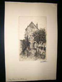Harry George Webb C1900 Folio Signed Etching. Gray Friars, Caterbury, Kent