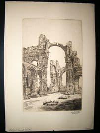 Harry George Webb C1900 Folio Signed Etching. Holy Island Cathedral, Lindisfarne