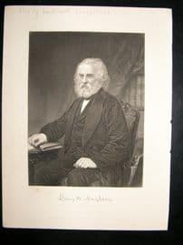 Henry Wadsworth Longfellow 1873 Antique Portrait Print