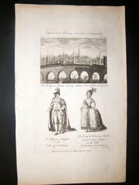 Hervey 1788 Folio Print. Moscow City, Russian Knight & Grand Duchess of Russia
