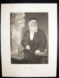 Hiram Powers 1873 Antique Portrait Print