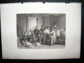 Historical C1870 Antique Print. Death of General Lindsay