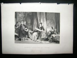 Historical C1870 Antique Print. Oliver Cromwell consulting the Lawyers