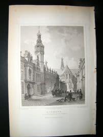 Holland Netherlands C1850's Antique Print. Alkmar