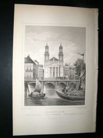 Holland Netherlands C1850's Antique Print. Amsterdam, Moses and Aronkirche