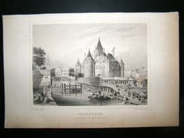 Holland Netherlands C1850's Antique Print. Amsterdam, St.Anthonies waag