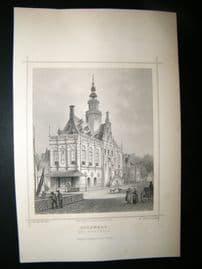 Holland Netherlands C1850's Antique Print. Bolsward