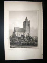 Holland Netherlands C1850's Antique Print. Brielle