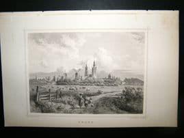 Holland Netherlands C1850's Antique Print. Delft, Windmills