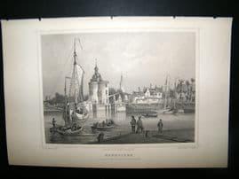 Holland Netherlands C1850's Antique Print. Enkhuizen