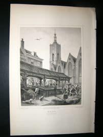 Holland Netherlands C1850's Antique Print. Haag, fish market