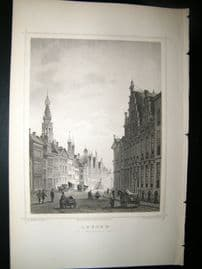 Holland Netherlands C1850's Antique Print. Leyden, De Breedestraat
