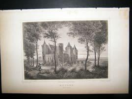 Holland Netherlands C1850's Antique Print. Muiden, het Slot,