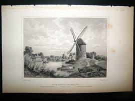 Holland Netherlands C1850's Antique Print. Rembrandt, Molen, Windmill