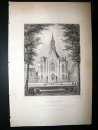 Holland Netherlands C1850's Antique Print. Rotterdam, Church