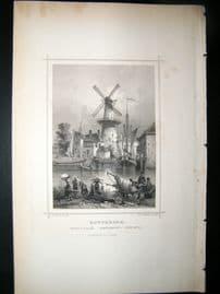 Holland Netherlands C1850's Antique Print. Rotterdam, Corn Mill,
